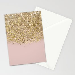 Pink and Gold Glitter Stationery Cards