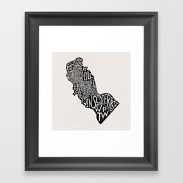 Camden County, New Jersey Map Framed Art Print