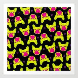 french bulldog - blk pattern Art Print