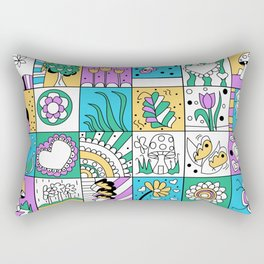 Inchie Doodle Design - Aqua Yellow - Spring Rectangular Pillow