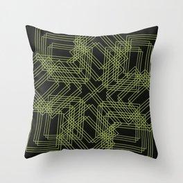 Green Circle Black Throw Pillow