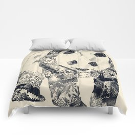 Tattooed Panda {cream} Comforters