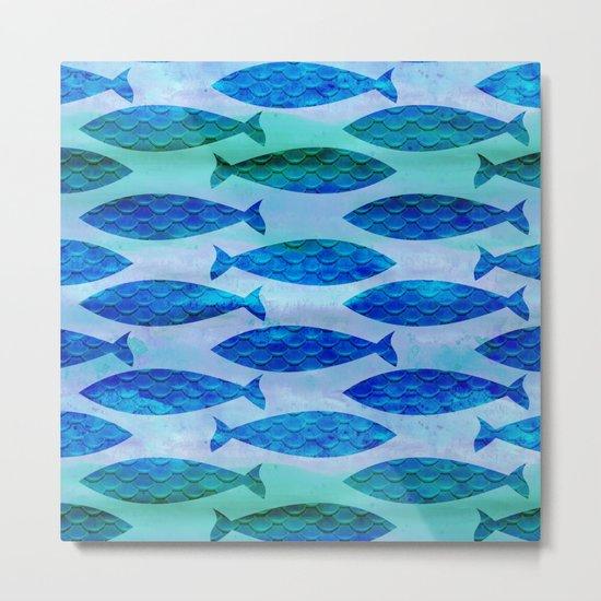 Blue Turquoise Green Watercolor Fish Pattern Metal Print