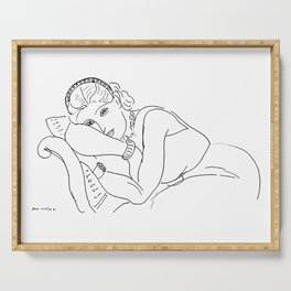 Henri Matisse - Resting Woman Wearing Tiara,1936 - Artwork Sketch, tshirt, tee, jersey, poster, artw Serving Tray
