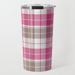 Pink & Natural Tartan Pattern Travel Mug
