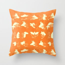 ACME Orange Shadow Puppets Throw Pillow
