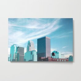 Minneapolis Minnesota Skyline and Cloudy Sky Metal Print