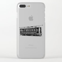 Old City Tram Detailed Illustration Clear iPhone Case
