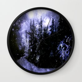 Galaxy Winter Forest Periwinkle Gray Wall Clock