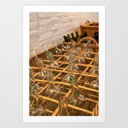 Empty dark glass bottles ready for bottling wine Art Print