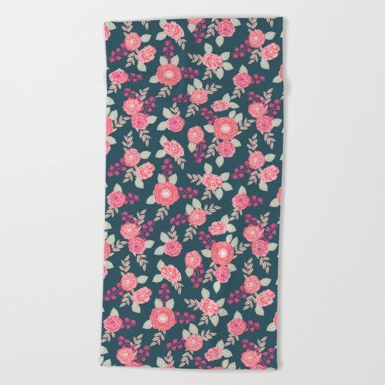 Ranunculus gardener garden floral flowers boho navy pink pastel cute pattern dorm college trendy Beach Towel
