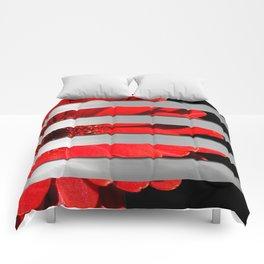 Red Daisy Black & Silver Metallic Stripes Comforters