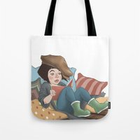 reading Tote Bags featuring Reading by Vera Johansen