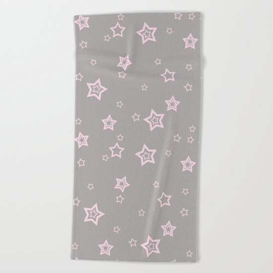Pink little stars on grey on #Society6 Beach Towel