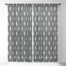 geo six-teal Sheer Curtain