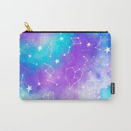 Modern nebula ultra violet watercolor hand painted white constellation stars universe small pattern Carry-All Pouch