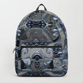 Silver Blue Frost Metallic Gothic Window Mandala Backpack