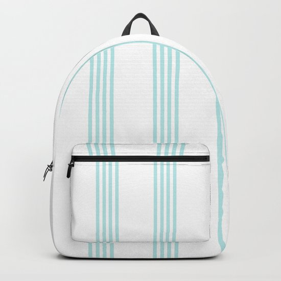 Striped I - Turquoise stripes on white- Beautiful summer pattern Backpack