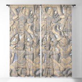 Buddhist Golden Bas Relief Sculpture Laos Sheer Curtain