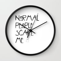 ahs Wall Clocks featuring Normal People Scare Me - AHS by swiftstore