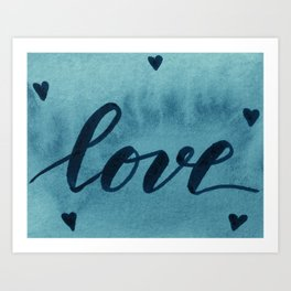 Valentine's Day Watercolor Love – teal Art Print