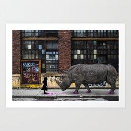 Real Rhinos Wear Pink Art Print