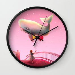 Whale and balloons - Pink Wall Clock