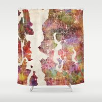 seattle Shower Curtains featuring Seattle by MapMapMaps.Watercolors