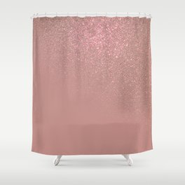 Diagonal Rose Gold Glitter Gradient Ombre Shower Curtain