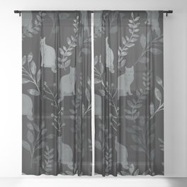 Watercolor Floral and Cat III Sheer Curtain
