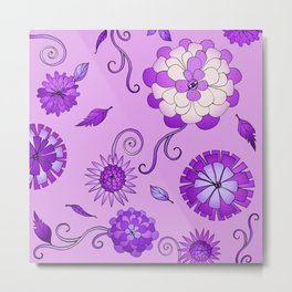 Purple Crazy Daisy pattern Metal Print