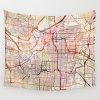 kansas Wall Tapestries featuring Kansas City by MapMapMaps.Watercolors