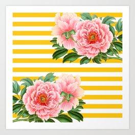 Pink Peonies Yellow Stripes Art Print