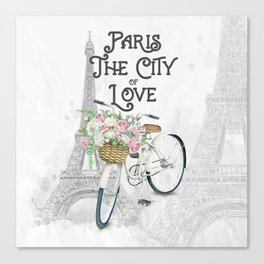 Vintage Paris Bicycle with Flowers Canvas Print