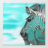 zebra Canvas Prints featuring Zebra  by Saundra Myles