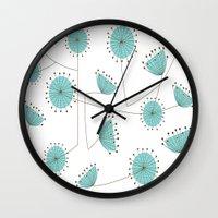 mid century Wall Clocks featuring Mid-Century Dandelion Clocks by Kippygirl