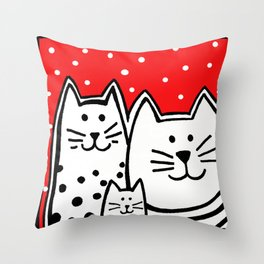 Three Kitties With Polka Dots Throw Pillow