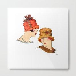 Vintage Flapper Fashion Hats Metal Print