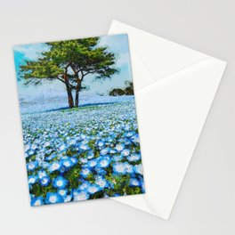 Fields of Blue Poppies floral landscape painting Stationery Cards