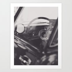 Super car details, british triumph spitfire, black & white, high quality fine art print, classic car Art Print