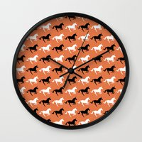 unicorns Wall Clocks featuring Unicorns by Fabian Bross