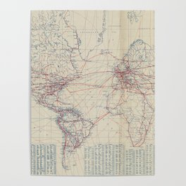 Vintage World Air Travel Map (1919) Poster