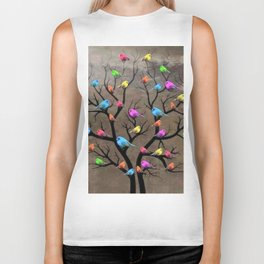 Colorful birds Biker Tank
