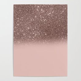Rose Gold Glitter Ombre Poster