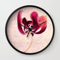 tulip Wall Clocks featuring Tulip by Claudia Drossert