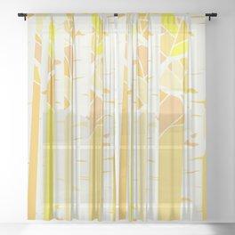 Yellow birch forest Sheer Curtain