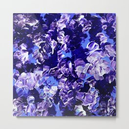 FLORAL FANTASY 2 Bold  Blue Lavender Purple Abstract Flowers Acrylic Textural Painting Garden Art Metal Print