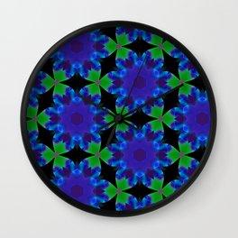 Indigo Green Roulette Geometric Pattern Wall Clock