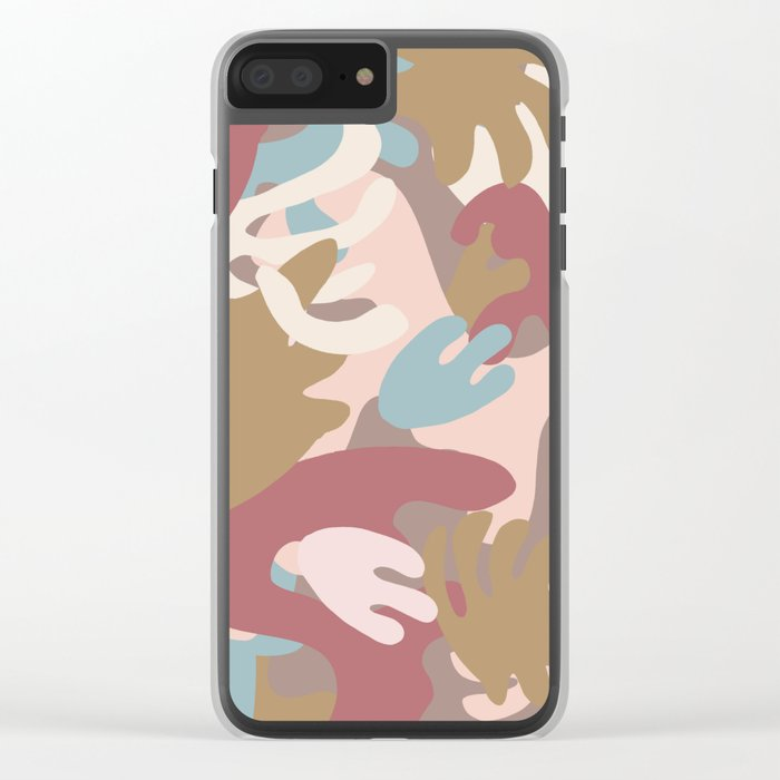 Abstract Leaf Motif Clear iPhone Case