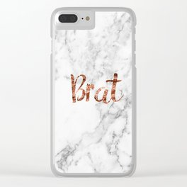 Rose gold marble - brat Clear iPhone Case
